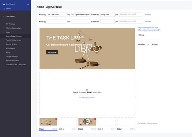 Setting up the homepage carousel