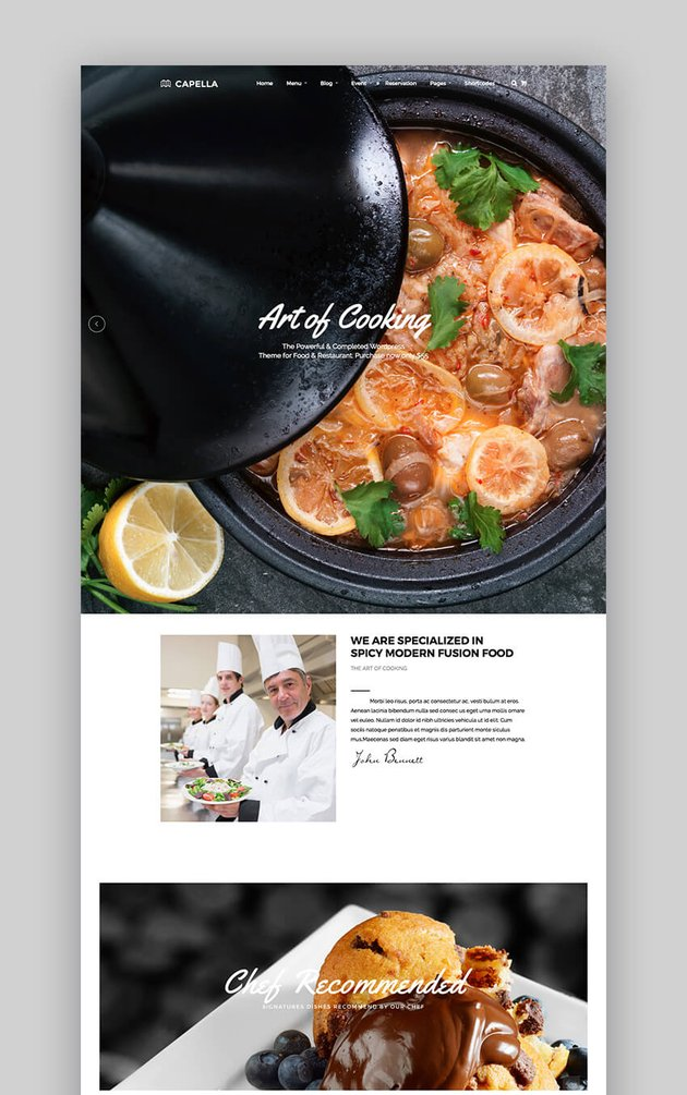 Capella WordPress theme with parallax effects