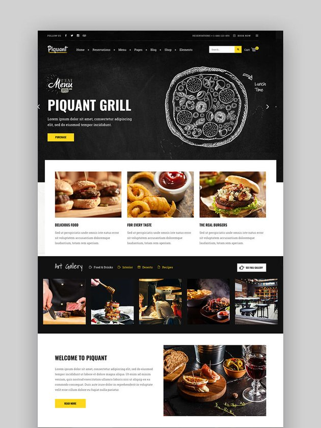 Piquant Premium restaurant WordPress theme