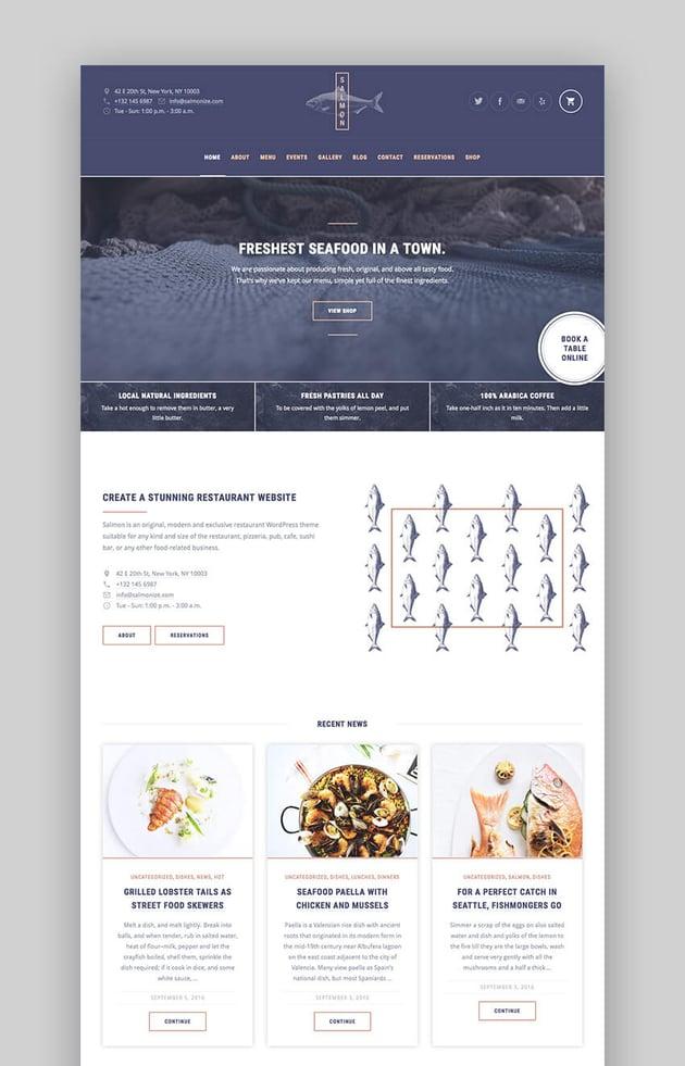 Salmon multipurpose Premium restaurant theme