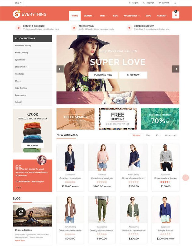 Everything Shopify online store theme