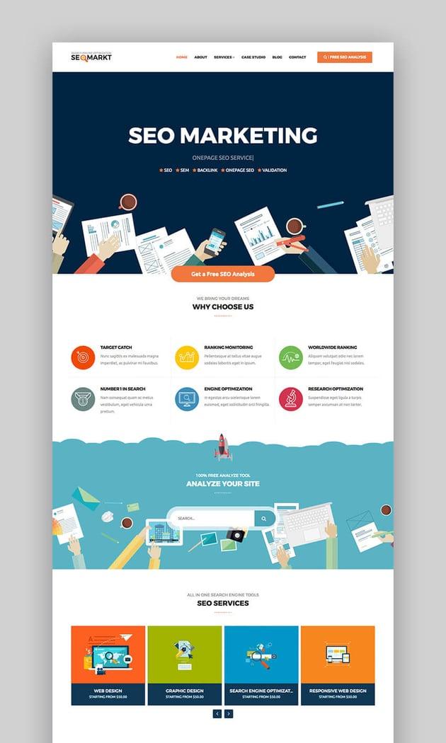 SEOMarkt marketing SEO Flat WordPress theme