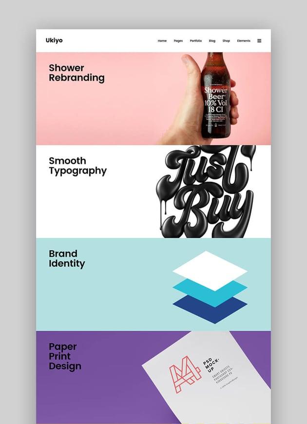 Ukiyo fresh flat portfolio WordPress theme
