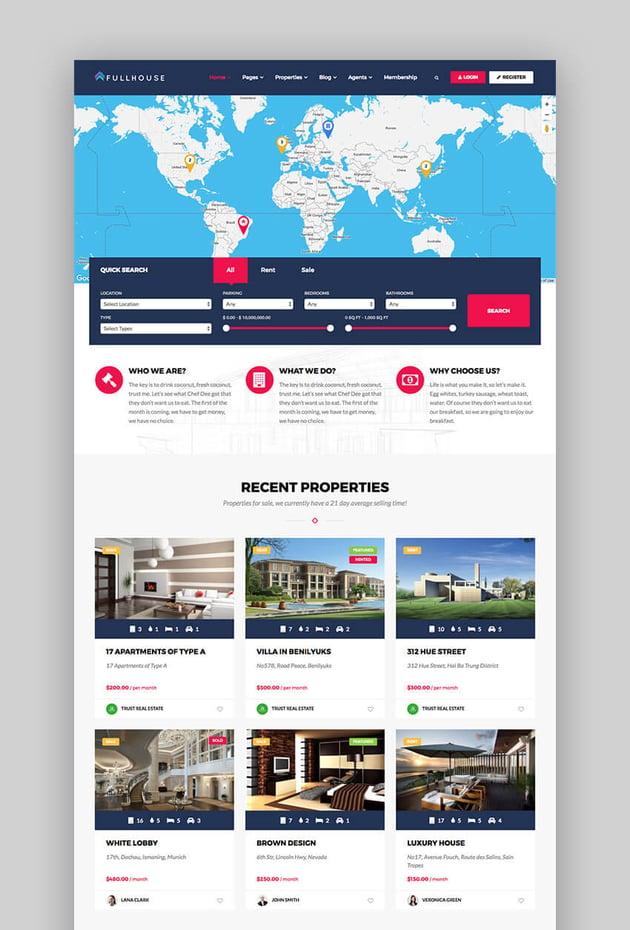 FullHouse responsive real estate WordPress theme