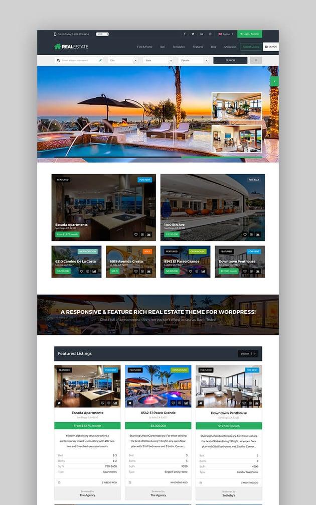 Real Estate 7 - Tema prémium de WordPress para inmobiliaria