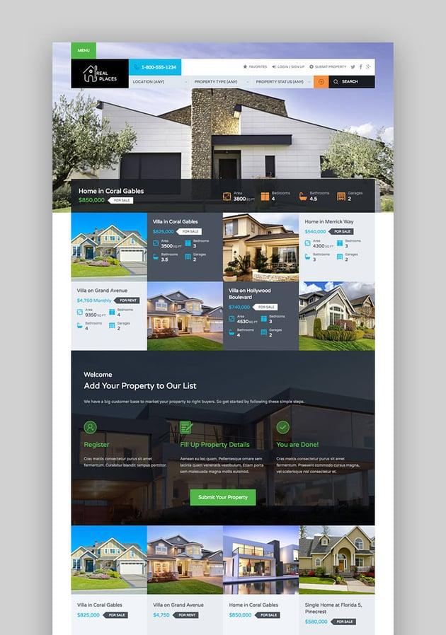 Real Places - Tema WordPress de inmobiliaria de diseño responsive para agentes inmobiliarios