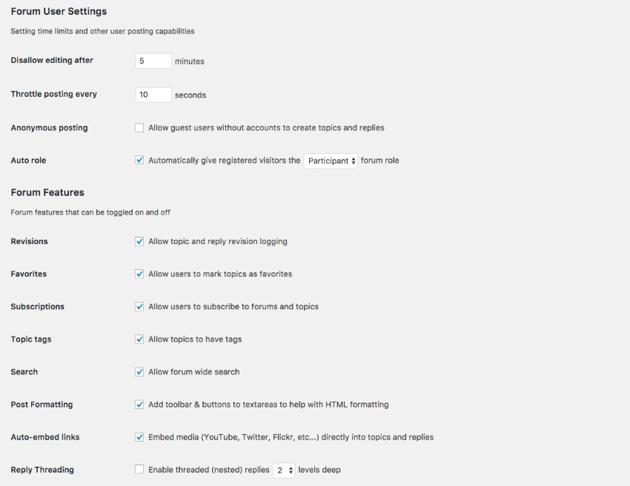 Forum settings