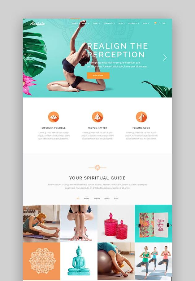 Anahata yoga and fitness WordPress beauty theme