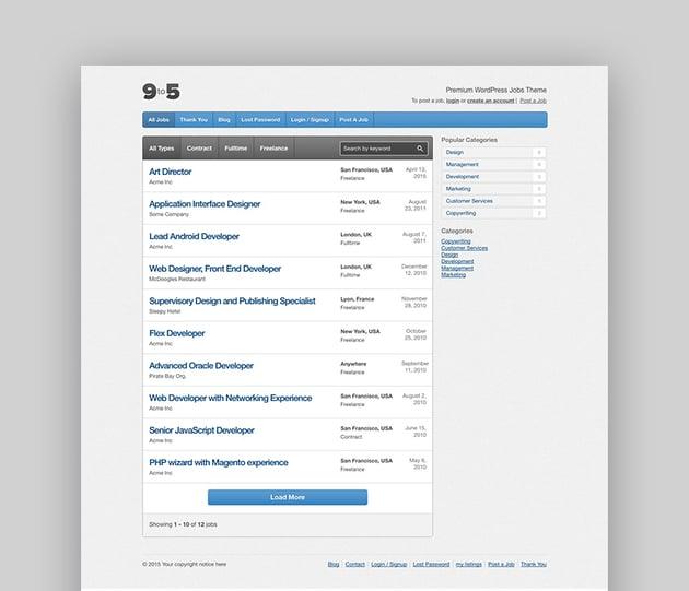 Nine to Five job board WordPress theme