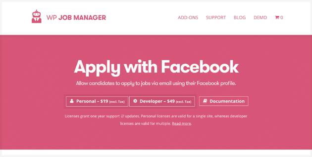Apply With Facebook job board plugin WordPress