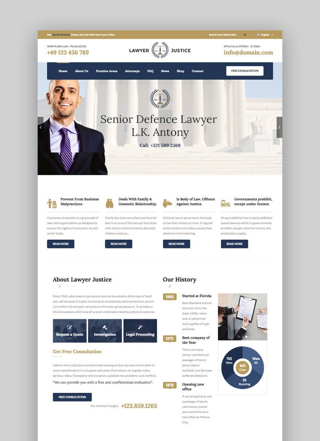 Lawyer WordPress Justice theme