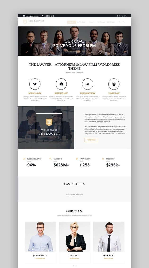 The Lawyer classic WordPress theme for law firms