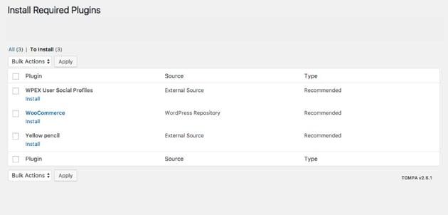 Install Required WordPress theme Plugins