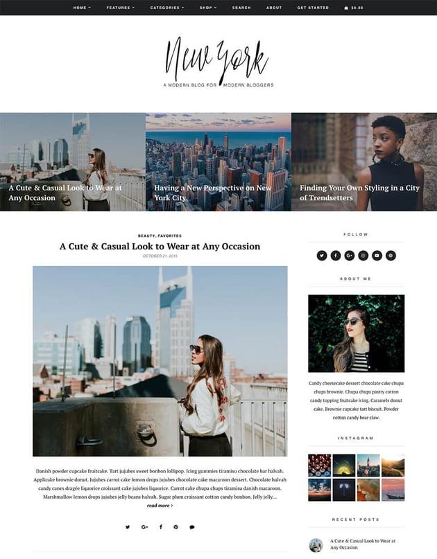 New York WordPress blog theme