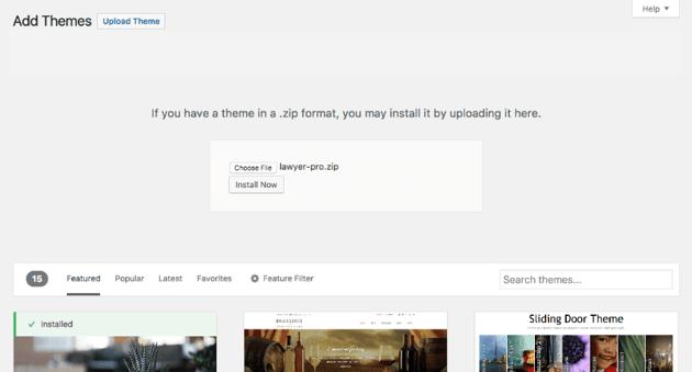 Installing an attorney WordPress theme