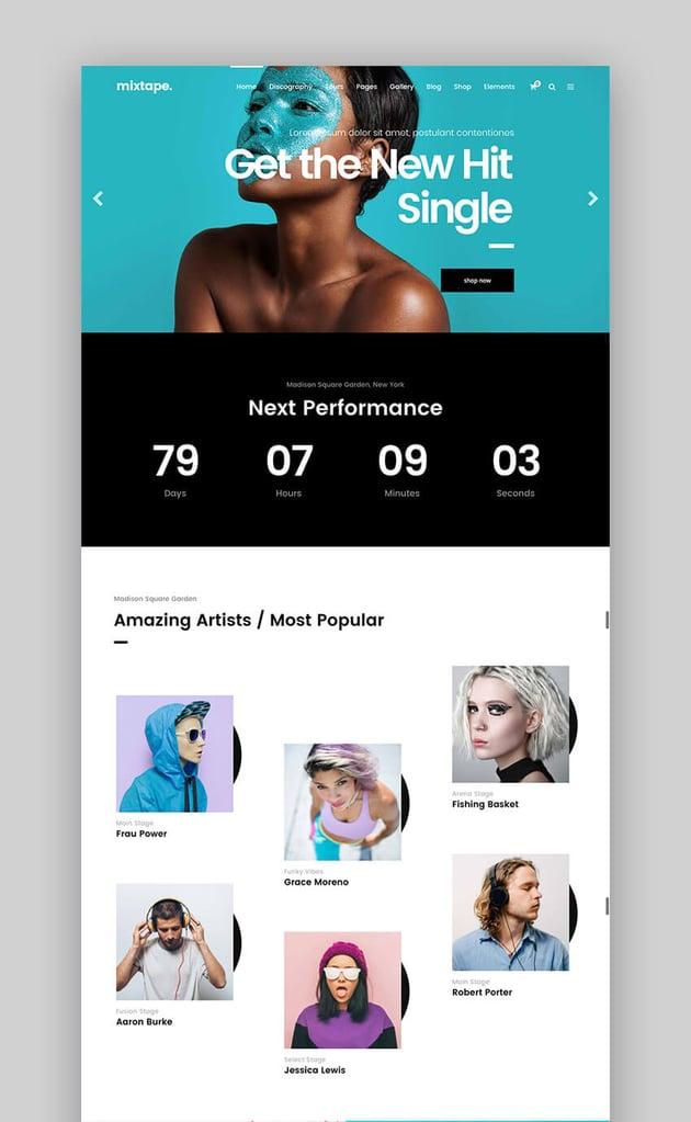 Mixtape Fresh Music WordPress Theme Design