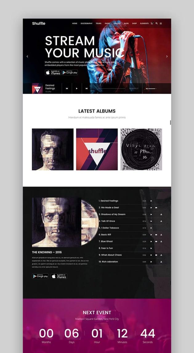 Shuffle all-purpose theme for WordPress music websites