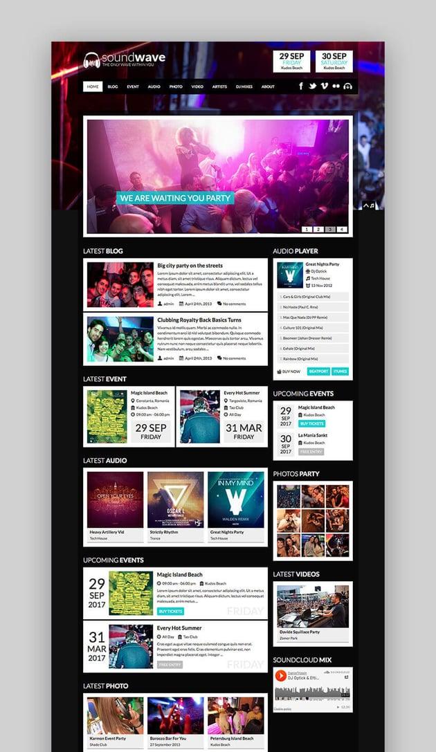 SoundWave Radio and Artist Music Theme for WordPress