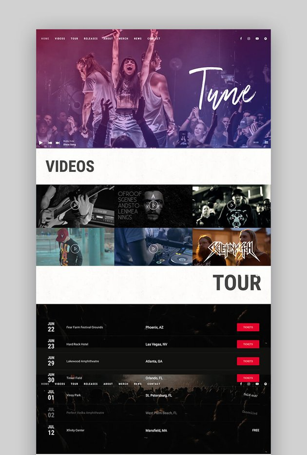Tune One Page WordPress Theme for Musicians