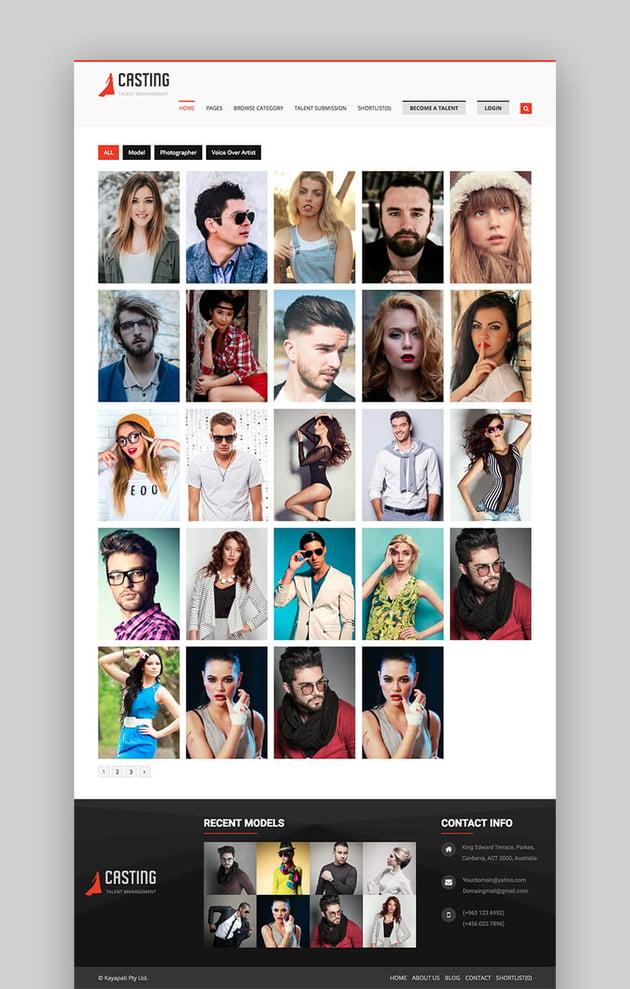 Casting fashion agency theme for WordPress