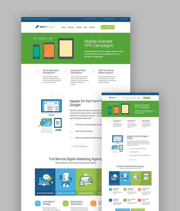SEOWP marketing theme for responsive wordpress websites