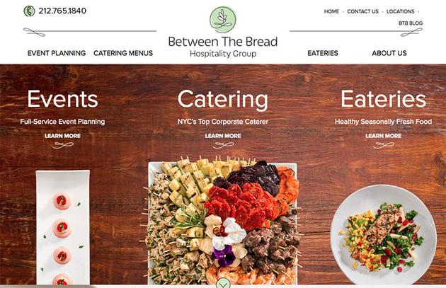 Between the Bread restaurant website