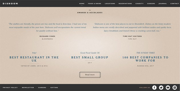 Dishoom restaurant website