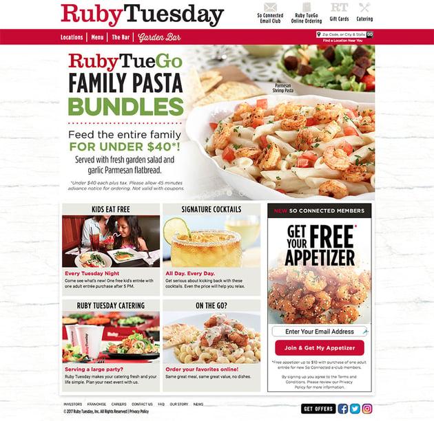 RubyTuesday restaurant website