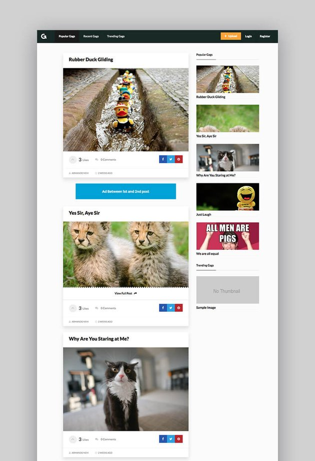 Gags responsive video sharing WordPress theme