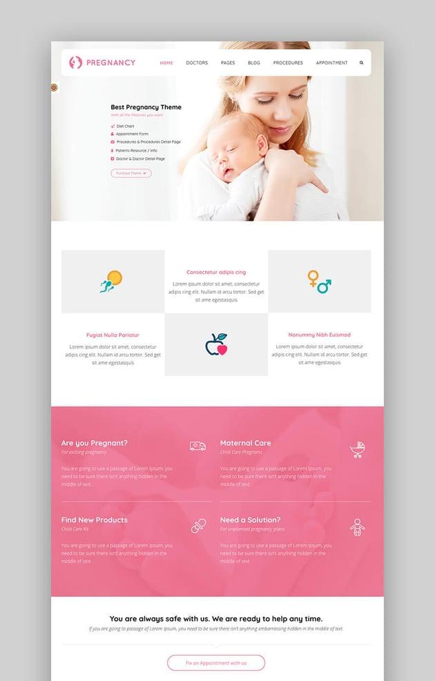 Schwangerschaftsmedizinisches WordPress-Gesundheitsthema
