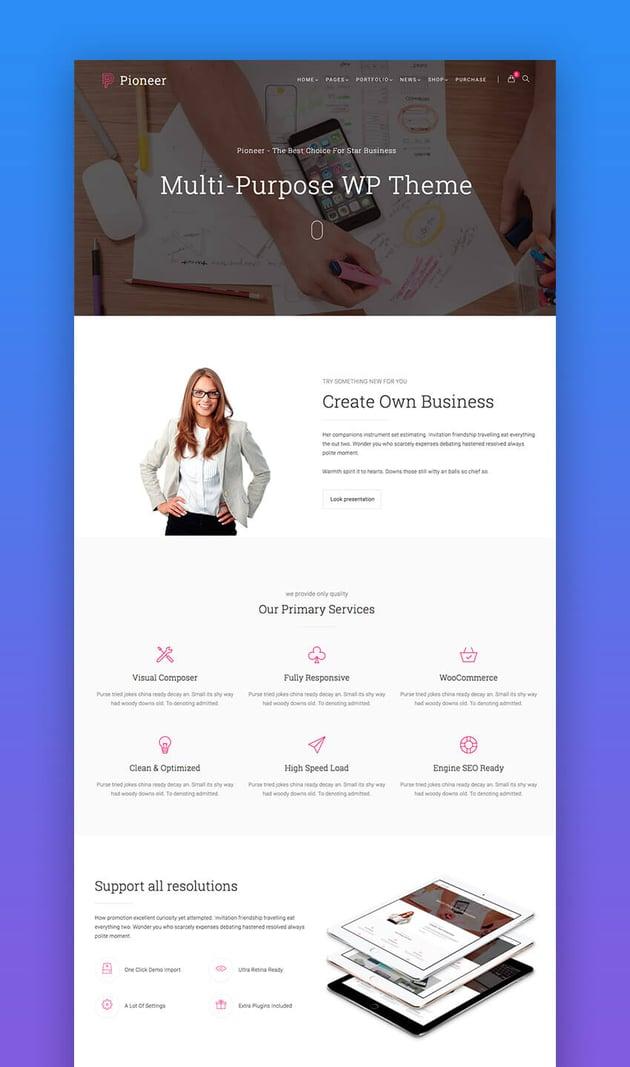 Pioneer SEO WordPress theme
