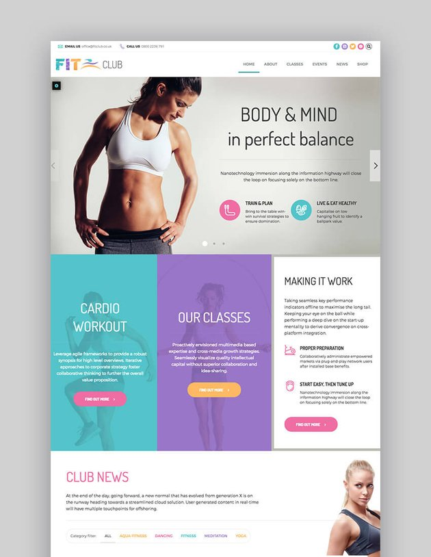 Fitness Club multipurpose WordPress theme