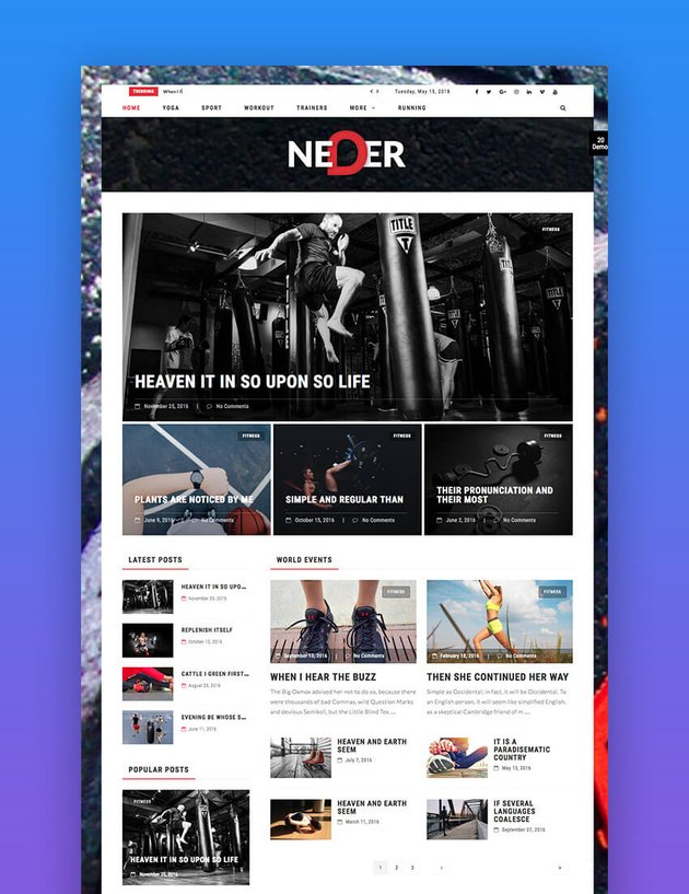 Neder fitness and health WordPress theme