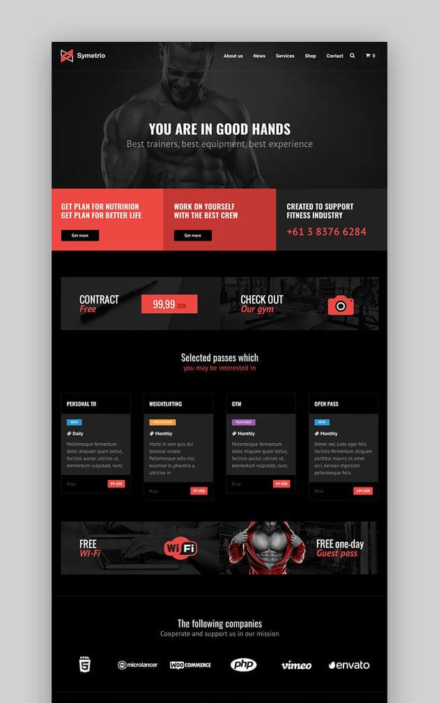 Symetrio fitness WordPress theme