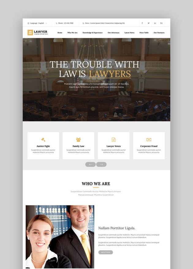 Lawyer responsive HTML template