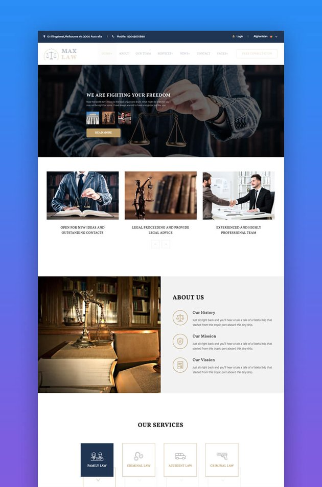 Max Law website template