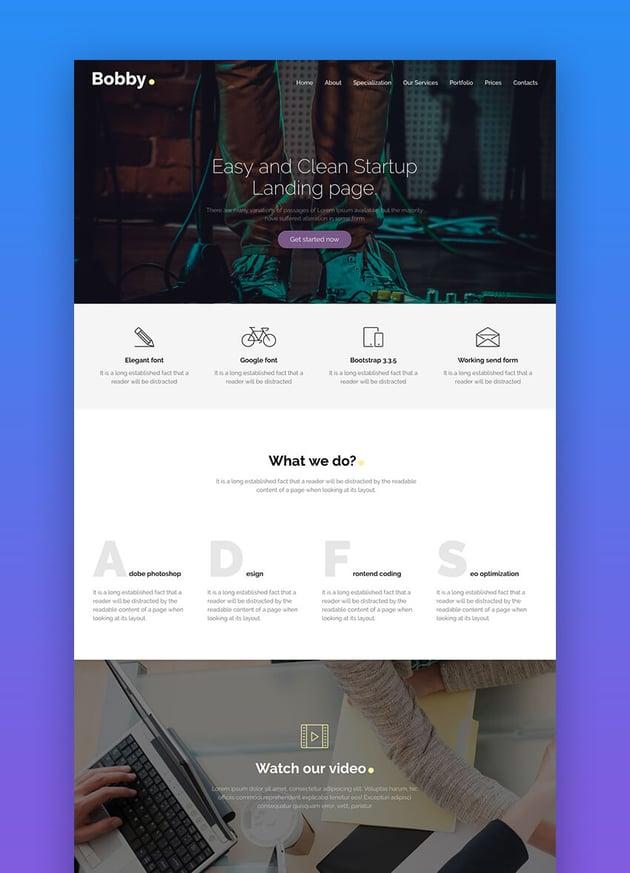 Bobby responsive landing page Drupal theme