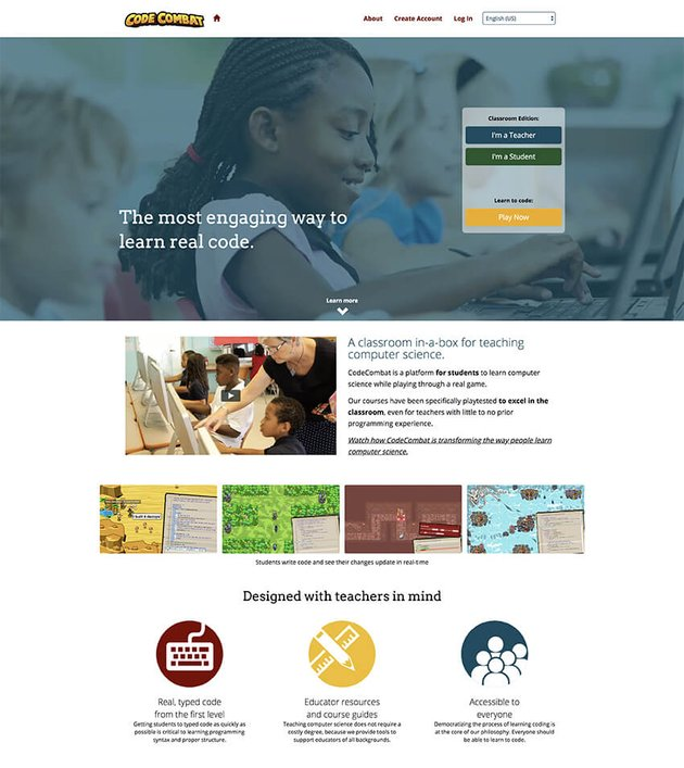 CodeCombat landing page example