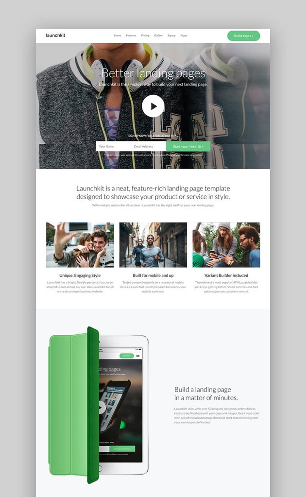 LaunchKit landing page for businesses