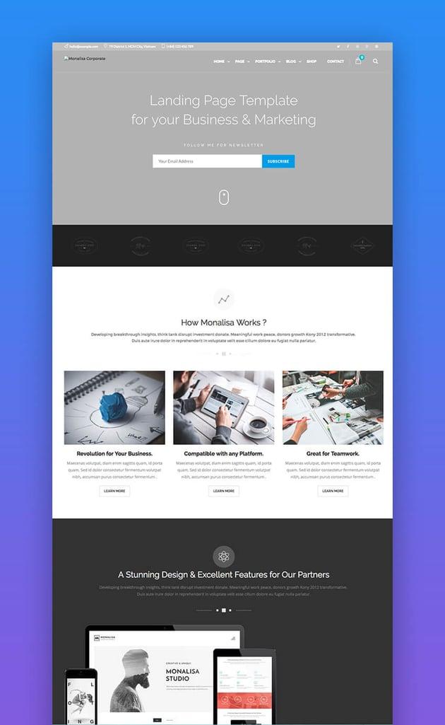 Monalisa landing page design