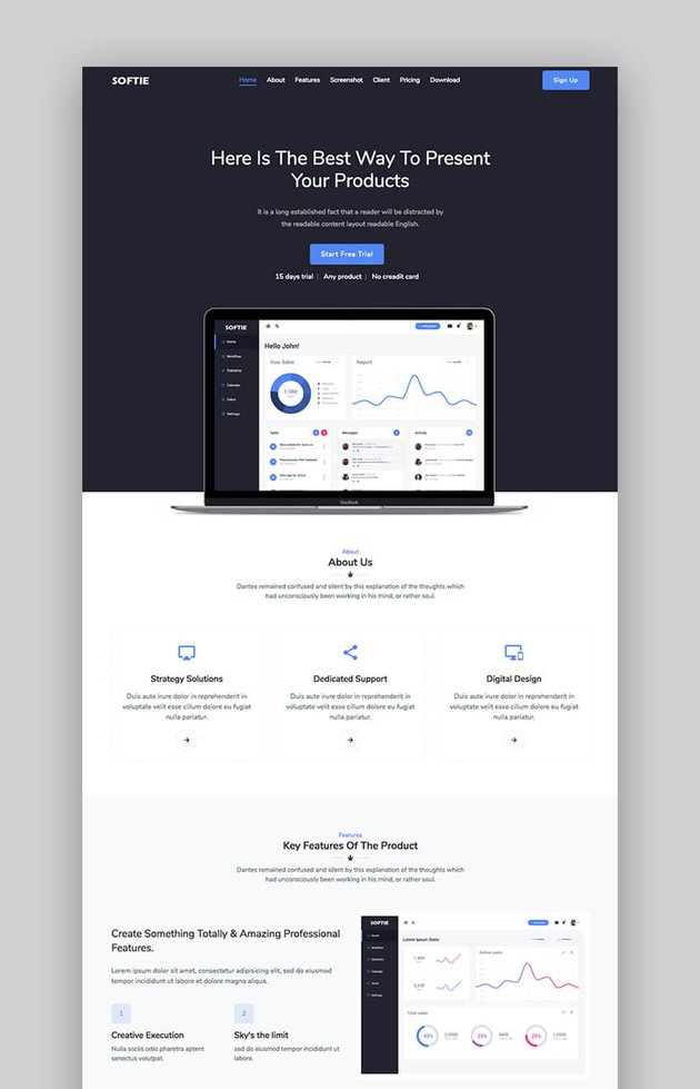 Softie software landing page design