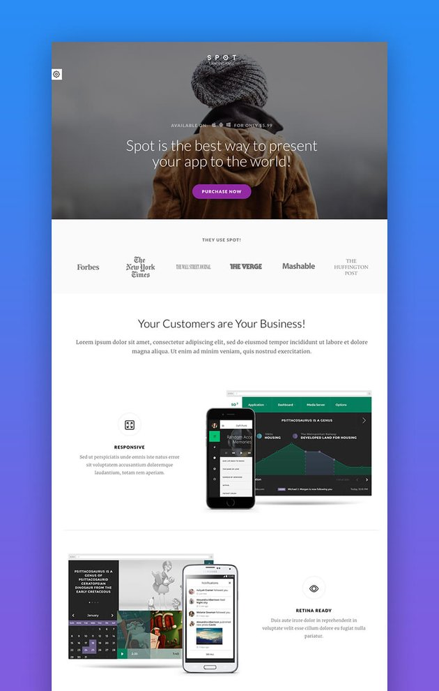 Spot - App and Service Landing Page