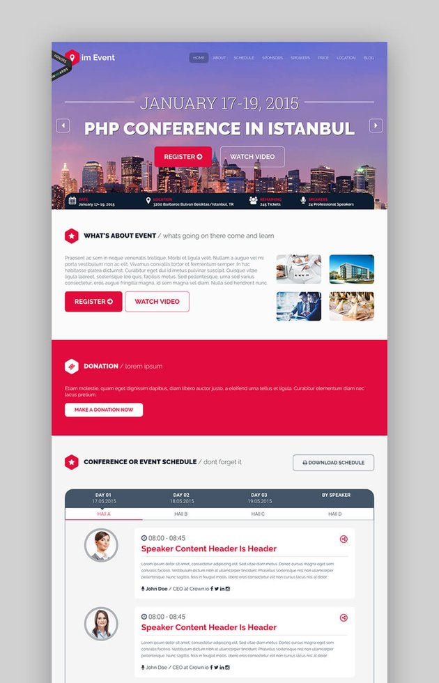 imEvent landing page template for events