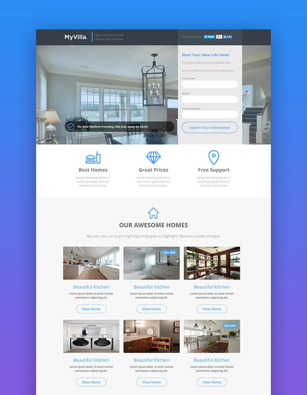 MyVilla real estate landing page template