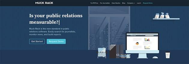 MuckRack landing page design example