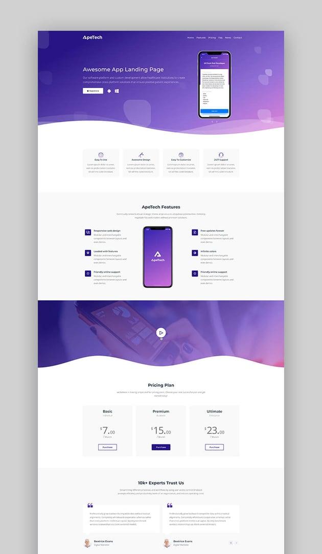 ApeTech app landing page template