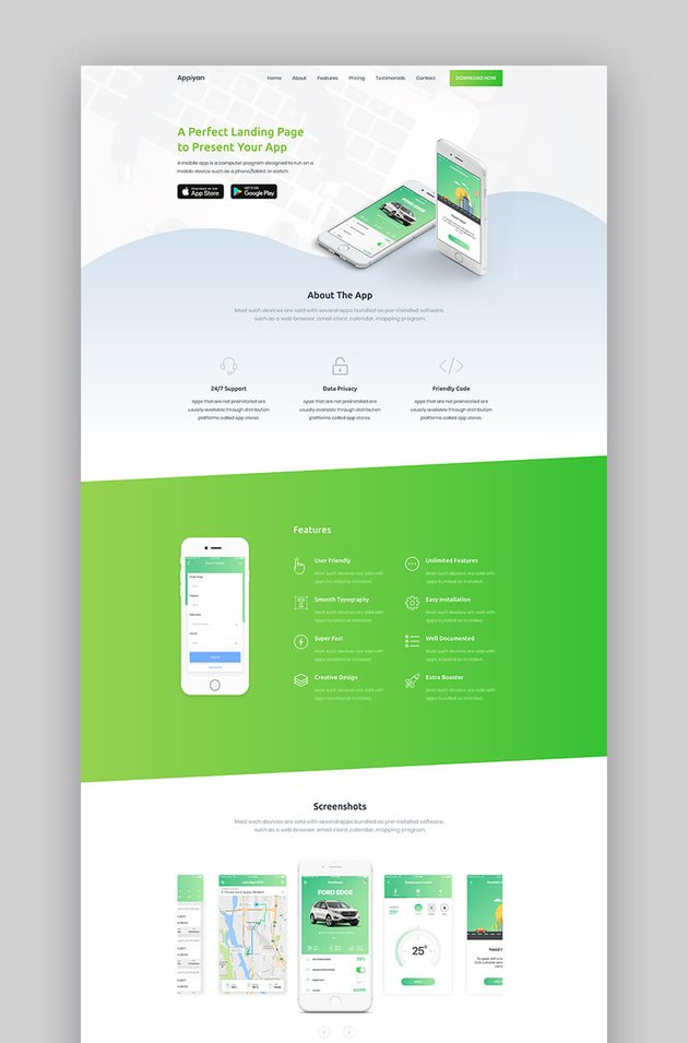 Appiyan app landing page template