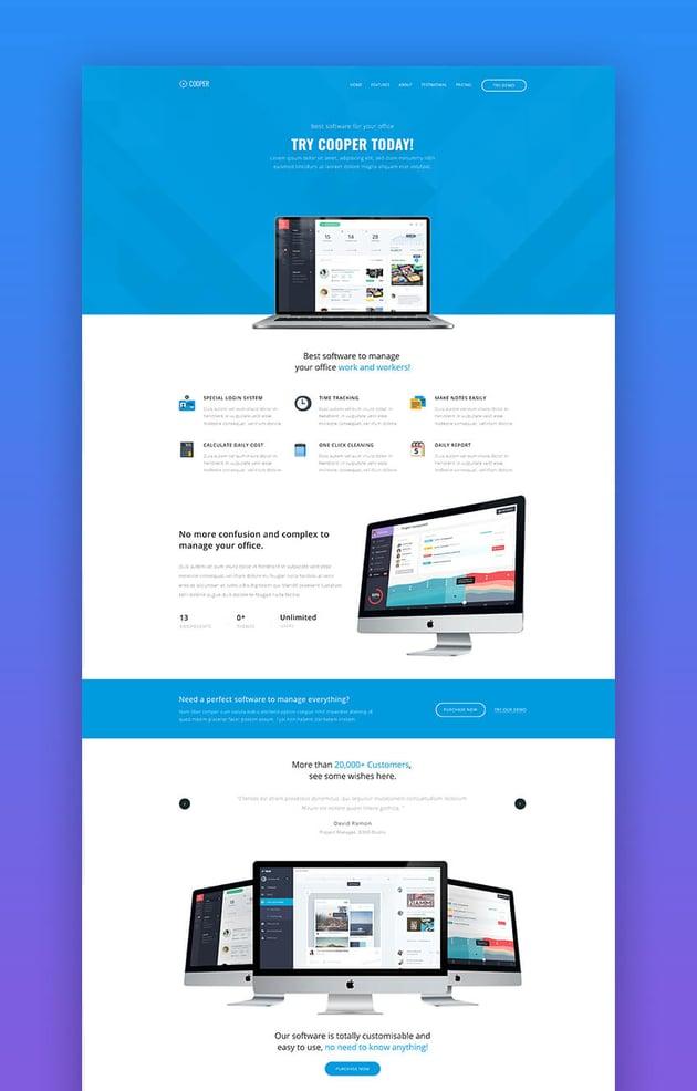 Cooper simple app landing page template