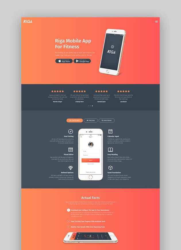 Riga mobile app landing page template