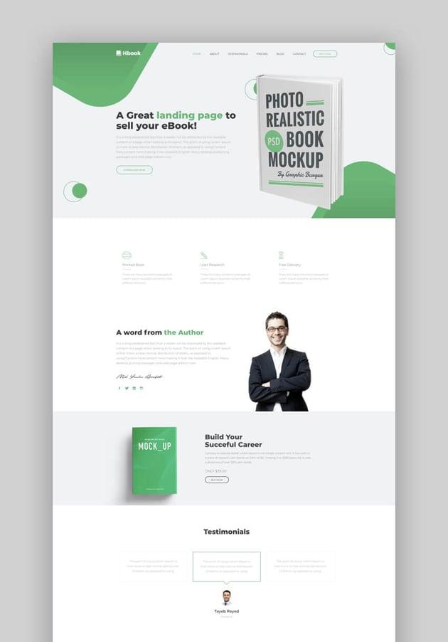 Ebook clean book landing page design